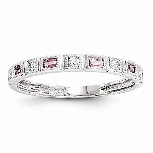JewelrySuperMart Collection 14k White Gold 1/10 CT Round Diamond & 0.20 CT Baguette Pink Sapphire Ring