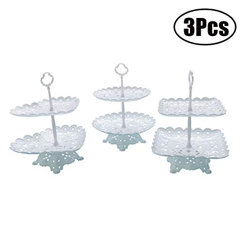 FEOOWV White 2-Tier Cake Cupcake Stands Set of 3, Round/Square/Heart Shape Pastry Dessert Stands Fruit Plates with Base Suit for Wedding Birthday Party Buffet Serving