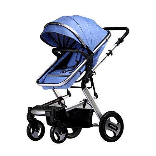 Y-only Travel System Pram 2-in-1 Baby Stroller, Fold Two-Way High Landscape Sitting and Lying Folding Portable Shockproof Travel Baby Carriage,Blue