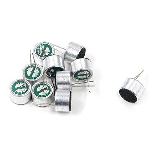 Geesatis 2-Pins Cylindrical Electret Condenser Microphone Pickup for Arduino, 10 pcs, 9 x 7 mm