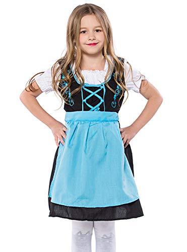 COSLAND Kids Girls' Oktoberfest Costume Lederhosen Uniform(Blue, ()