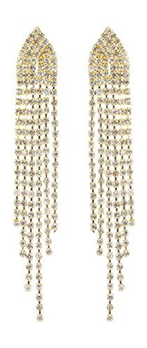 Extra Long Clear Rhinestone Shoulder Duster Waterfall Chandelier Earrings With Fringe Drop Strands, 3.5