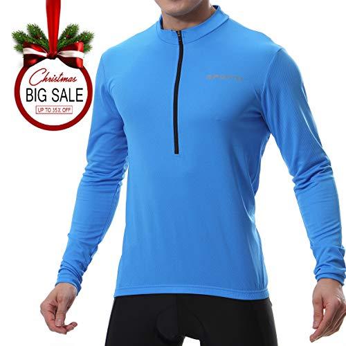 Spotti Mens Long Sleeve Cycling Jersey, Bike Biking Shirt- Breathable and Quick Dry (Chest 38-40 - Medium,Blue)