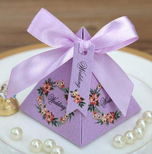 Gold Happy 50 pcs Pink/Purple/ Tiffany Blue Floral Pyramid Wedding Favor Candy Boxes Bridal Shower Party Paper Gift Box by Gold Happy