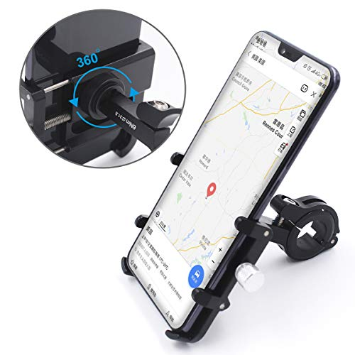 GUB Bicycle & Motorcycle Phone Mount, Aluminum Alloy Bike Phone Holder with 360° Rotation Adjustable for iPhone X XR Xs 7s 8 Plus, Samsung S7/S6/Note5/4 GPS Mount 4 to 6.5 Inch (Black)