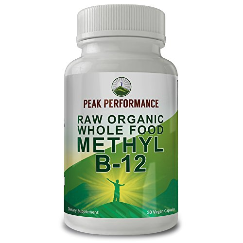 Raw Organic Whole Food Vegan b12 Vitamin by Peak Performance. Vitamin B12 Methylcobalamin - Methyl B-12 Supplement with 25+ Organic Fruit & Vegetable Ingredients. 30 Day Supply Capsules. Pills