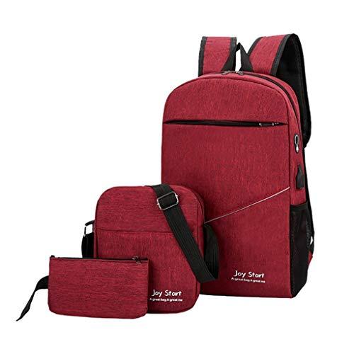 Student Schoolbag Backpack Set Teen Boy Girl Schoolbag Solid Color Rucksack Large Capacity Multifunctional Bags