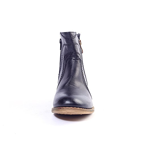 Alexis Leroy - Stylish Solid Side Zipper Ankle Boots para mujer Negro