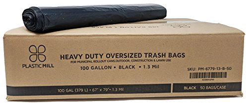 PlasticMill 100 Gallon, Black, 1.3 Mil, 67x79, 50 Bags/Case, Garbage Bags/Trash Can ()