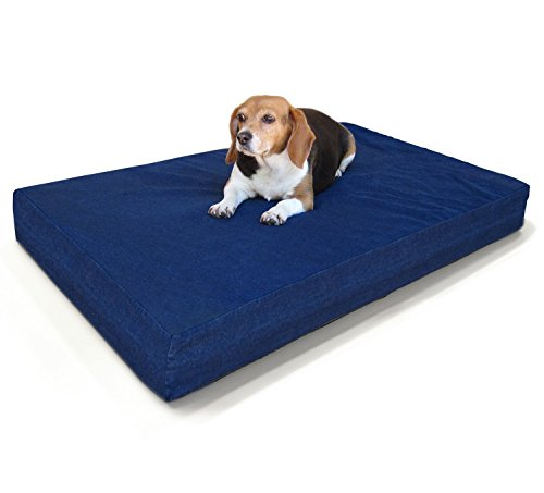 large-dog-bed-premium-solid-memory-foam-pet-bed-dog-mat-with-waterproof-cover-color-denim-size-35x20