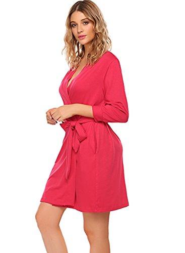 e55253cf88a8 Hotouch Women Kimono Robes Cotton Lightweight Robe Short Knit Bathrobe Soft Sleepwear  Ladies Loungewear S-