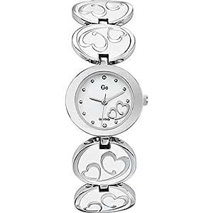 GO Girl Only 694609 - Reloj analógico de cuarzo para mujer con correa de metal, color blanco