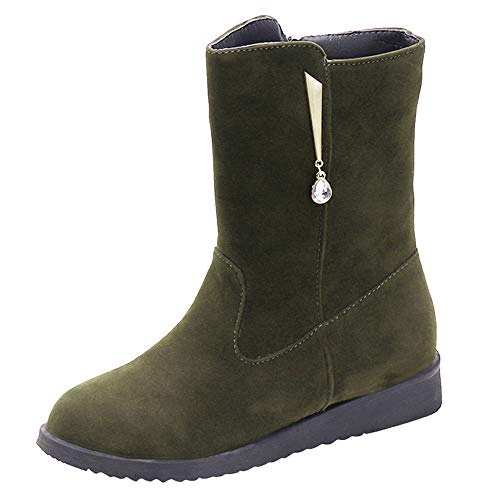 BYEEE  ♥‿♥ Women Flat Rhinestone Booties Middle Tube Suede Martin Boots Shoes Zipper Boot
