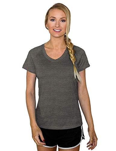 Woolx Women's Mia Lightweight Moisutre Wicking Merino Wool T Shirt That Repels Odor, Graphite Heather, Medium ()
