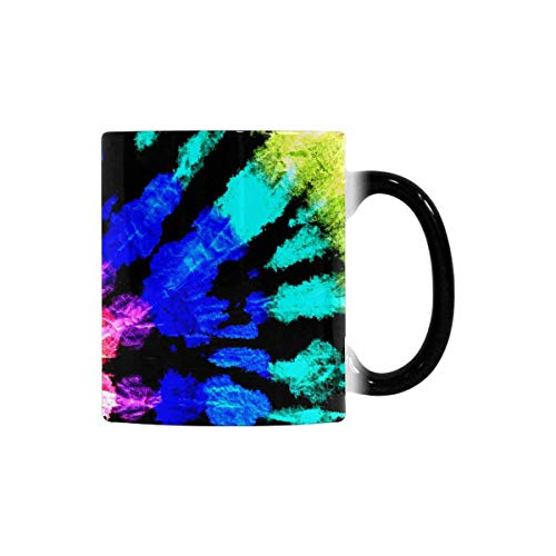 InterestPrint Tie Dye Pattern Heat Sensitive Coffee Mug, Color Changing Morphing Tea Cup Funny, 11 Ounce Novelty Interesting Mug for Boys Girls Friends