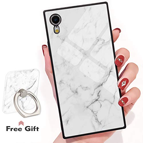 - Bitobe White Marble Design iPhone XR Square Edges Case with Phone Ring Stand Grip Holder Soft TPU Slim Square Case Phone Cover for iPhone XR 6.1 inch
