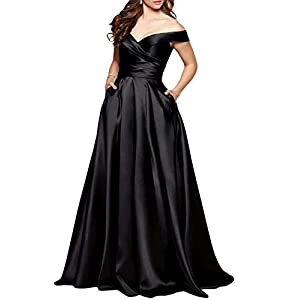 BEAUTBRIDE Women's Off Shoulder Long Prom Gown With Pocket