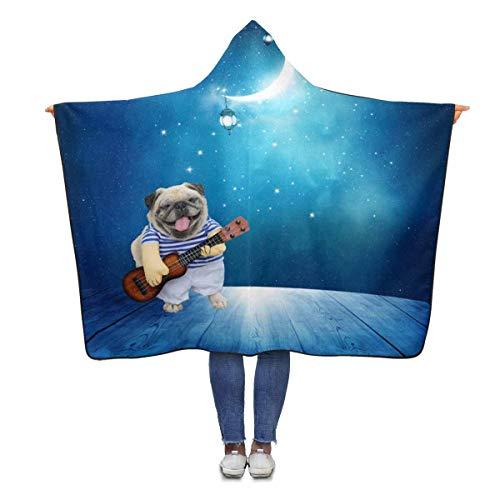 INTERESTPRINT Musician Guitarist Pug Dog Hooded Throw Blanket 80 x 56 inches Adults Girls Boys Polar Fleece Blankets with ()