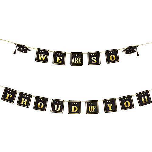 (Graduation Banner, We are so Proud of You Banner - Extra Long No DIY Required Black and Gold Graduations Party Supplies Classy and Luxurious Graduation Banner for Graduation Decorations Grad)