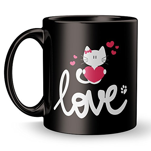 Kitty Love Cat Lover Mug / Kitten Coffee Super Cool Funny and Inspirational Gifts 11 oz ounce Black Ceramic Tea Cup Cute Ultimate Travel Gear - Best Owner Joke Fun Sarcasm (Cheshire Cat Face Tattoo)