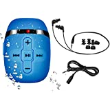 Waterproof MP3 Player for Swimming and Running,Underwater Headphones with Short Cord, Shuffle Feature (Blue)