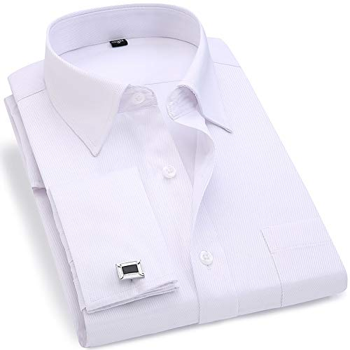 - BINJUEMENS Mens French Cuff Regular Fit Long Sleeve Spread Collar Dress Shirt with Cufflinks (White, 17