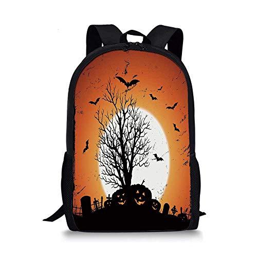 Vintage Halloween Stylish School Bag,Grunge Halloween Image with Eerie Atmosphere Graveyard Bats Pumpkins for Boys,11''L x 5''W x 17''H -