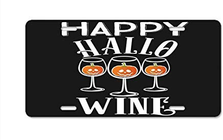 Happy Hallowine Halloween Wine Glasses Drinking License Plate Cover Car Tag Frame Auto License Plate Holder 12 x 6 ()