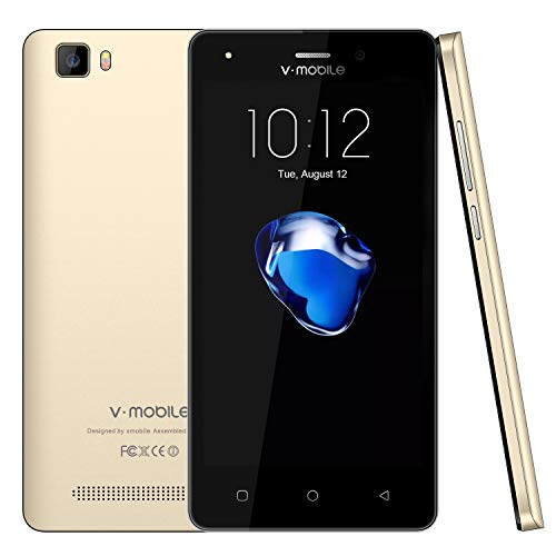 Unlocked Cell Phones, V Mobile A10-N Android Phones 7.0, 5MP Camera, Dual SIM Unlocked Smartphones 8Pcs, 2800mAh Battery 32GB (TF card extension) Quad Core for AT&T/T Mobile WIFI GPS (Gold)