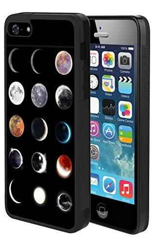 iPhone SE 5s 5 Case with Eclipse Pattern Whimsical Design Bumper Black Soft TPU and PC Protection Anti-Slippery &Fingerprint Case for iPhone SE 5s 5 (Eclipse Bumper Case For Apple Iphone 5 5s)