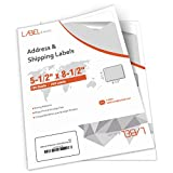 LABEL&MORE Half Sheet Labels 5-1/2'x 8-1/2' inches Self Adhesive Shipping Labels UPS USPS FedEx Labels 8.5x5.5' for Laser and Inkjet Printers [100 Sheets 200 Labels]