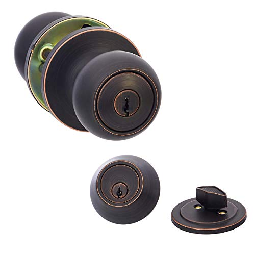 AmazonBasics Entry Door Knob and Deadbolt – Coastal – Oil Rubbed Bronze