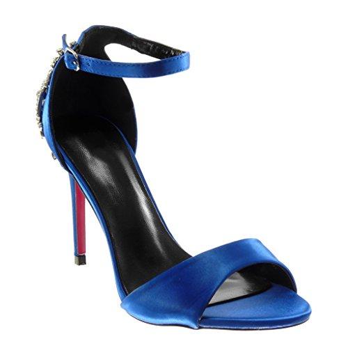 Moda Zapatillas De Angkorly Strass Escarpn Alto Sandalias Cm Tacn Fantasa 5 Aguja Mujer Azul Elctrico Stiletto Correa Tobillo 10 Joyas q5ddACw
