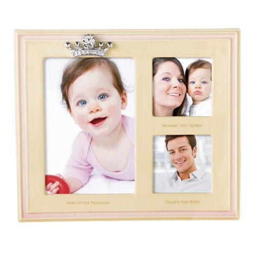 Grasslands Road Little Majesty Frame, Our Little Princess Triple Opening Cream and Pink Ceramic, 8 by 9-1/4-Inch