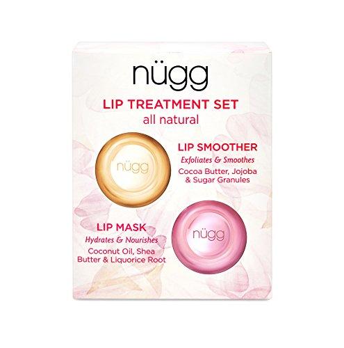 nügg Lip Care Treatment Set for Dry, Chapped Lips; Includes All Natural and Vegan Exfoliating Lip Scrub and Moisturizing Lip Mask; 2 x 7g (2 x 0.24 oz) (Treatment Lip Exfoliating)