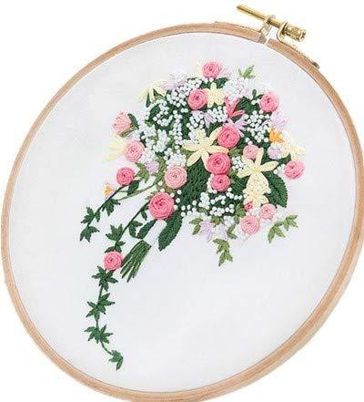 (Embroidery Kit for Beginner Flower Design DIY Home Wall Decor Fragrant Rose and Gypsophila)