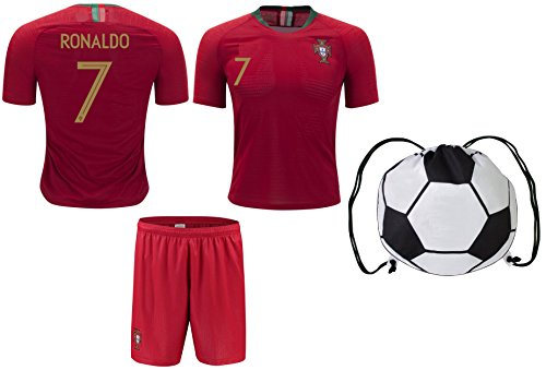 Cristiano Ronaldo #7 Portugal Home Youth Soccer Jersey & Shorts Kids Premium Gift Kitbag ✮ BONUS Ronaldo #7 Drawstring Backpack (Youth Small 6-8 years, World Cup)