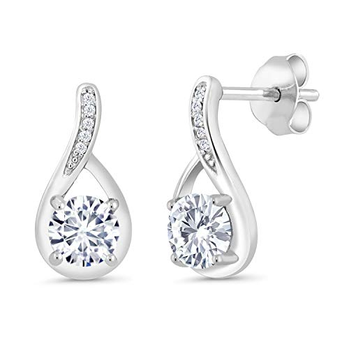 (925 Sterling Silver Dangle Earrings Forever Classic (KLM) Round 1.00ct (DEW) Created Moissanite by Charles & Colvard and Diamond)