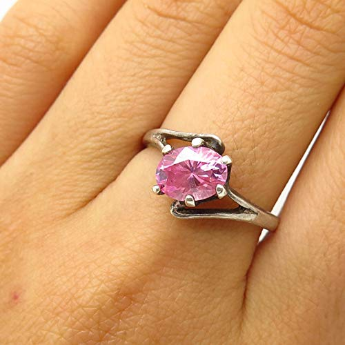 Tone Silver Bypass - 925 Sterling Silver Morganite-Tone C Z Bypass Design Ring Size 8.5 Jewelry by Wholesale Charms