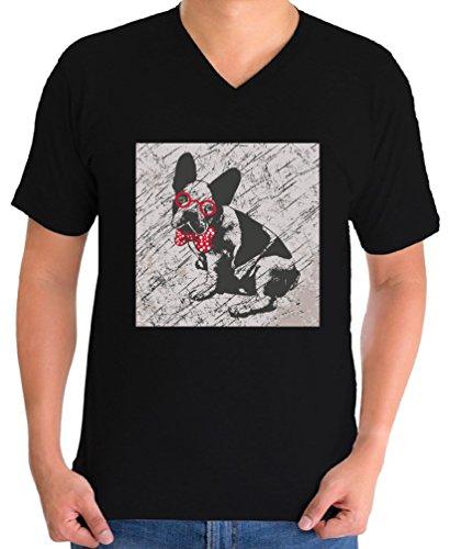 Bulldog V-neck (Awkward Styles Men's French Bulldog in a Bow Tie Vintage Graphic V-neck T shirt Tops True Gentleman Puppy Black M)