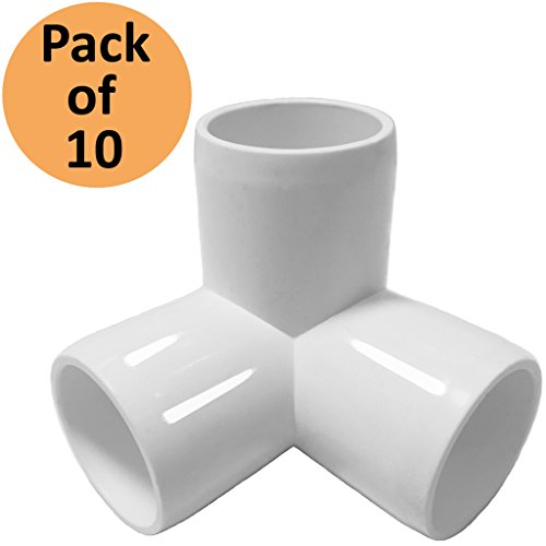 - 3 WayTee 1-1/4in PVC Fitting Elbow - Build Heavy Duty PVC Furniture - PVC Elbow Fittings (Pack of 10)
