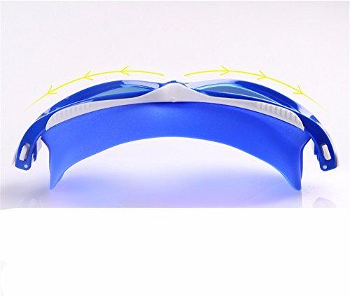 LXKMTYJ Boîtier De Boxe Pour Hommes Et Femmes Lunettes Plates De Natation Anti-Buée Lunettes De Natation Bleu coloré