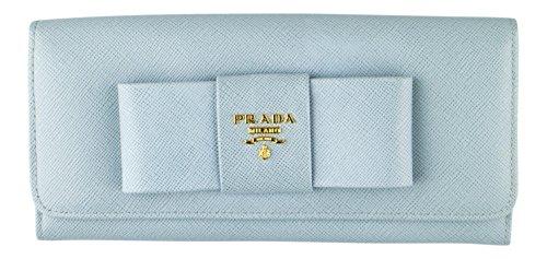 PRADA. Blue Saffiano Textured Leather Continental Wallet