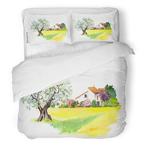 Semtomn Decor Duvet Cover Set Twin Size Rural Provencal Farm House Olive Tree and Yellow Field 3 Piece Brushed Microfiber Fabric Print Bedding Set Cover