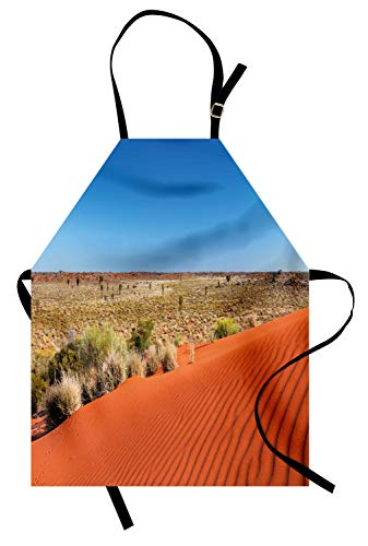 Lunarable Australia Apron, Ripples on Sand Dune Clear Day with Open Sky Northern Territory Scenery Photo, Unisex Kitchen Bib Apron with Adjustable Neck for Cooking Baking Gardening, Multicolor -