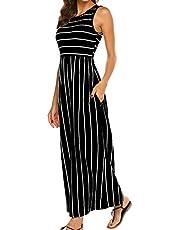 Hount Women's Summer Sleeveless Striped Flowy Casual Long Maxi Dress with Pockets (Z-Long Sleeve Navy, Medium)