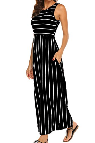 Womens Sleeveless Round Neck Striped Tank Maxi Dress with Pockets (Black, Large) -