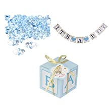 MonkeyJack 12pcs Candy Gift Boxes Baby Shower Favors 50pcs Pacifier Charms IT'S A BOY Bunting Banner Accessories