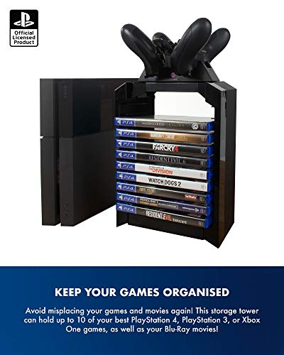 Numskull Official Sony Playstation 4 Game Storage Tower and Twin DualShock Controller Charger Accessory, Playstation Games Stand and Dual Controller Dock, Stores 10 PS4 Games or Blu Ray Disks 6