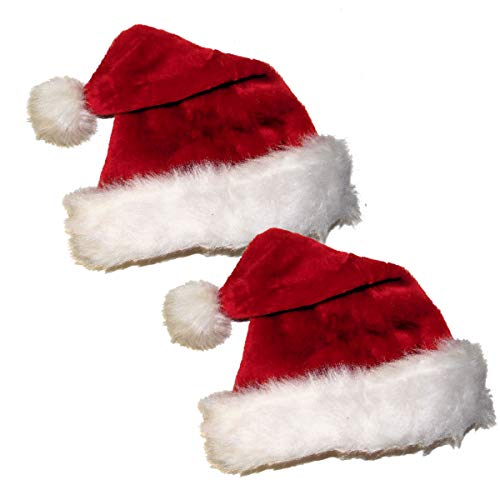 Santa Hat-Christmas Fuzzy Plush Costume Classic Hat for Adult, Red/White (2 Pack)